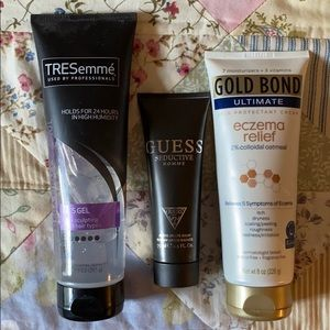 Hair gel, aftershave, and lotion